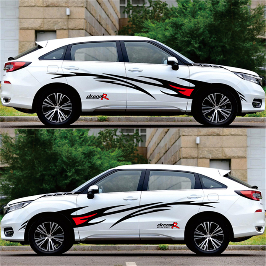 1 pair black red waterproof car suv body styling flame graphics sticker design