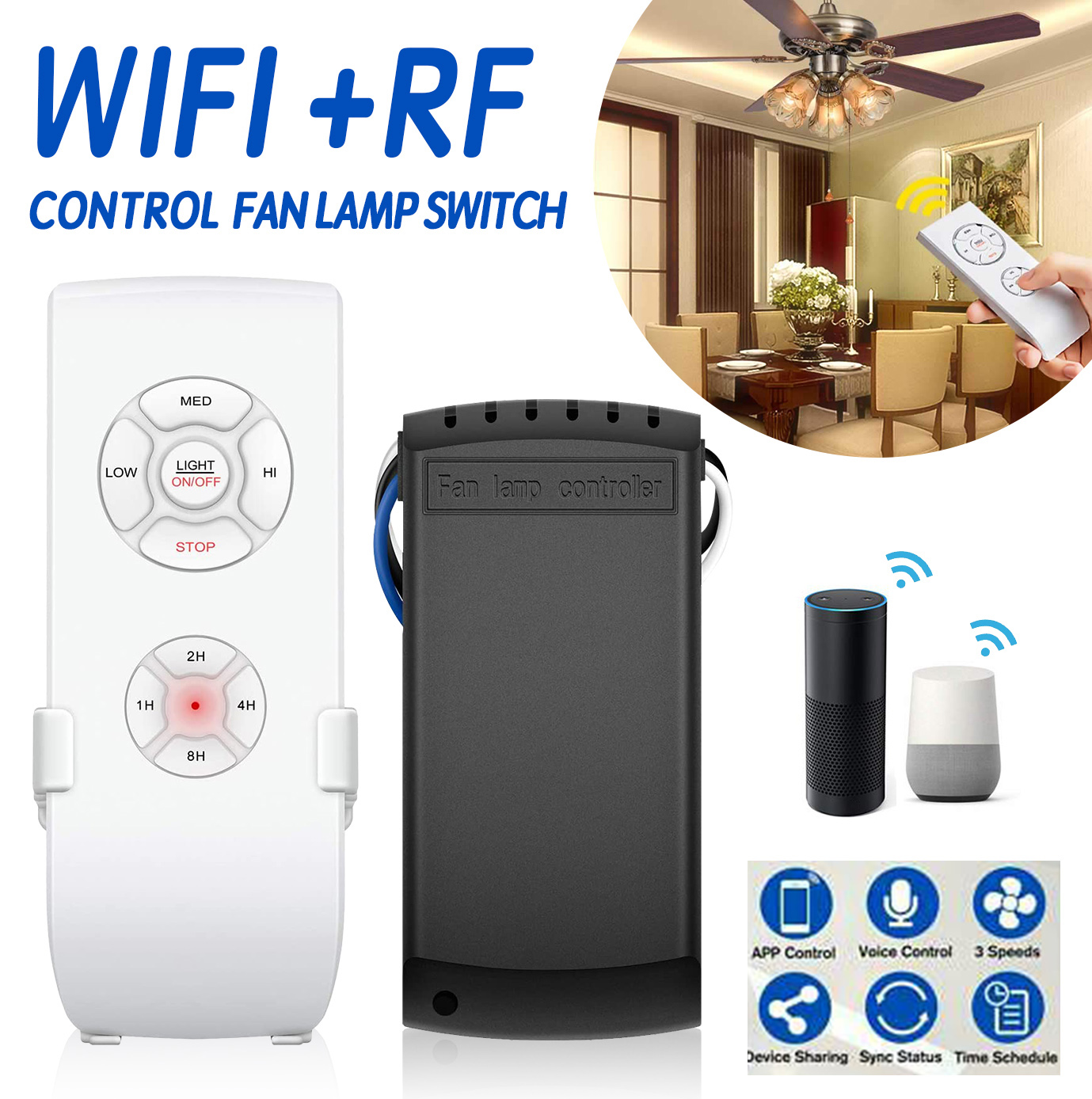 Smart Home WIFI Fan Light Switch APP Controller Remote Control Voice Control