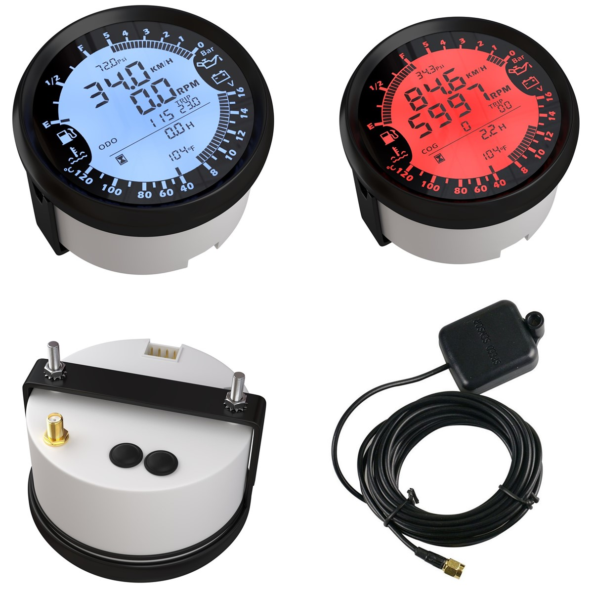 6 in 1 Tachometer BLACK GAUGE OIL WATER TEMPERATURE TEMP PRESSURE Voltmeter GPS