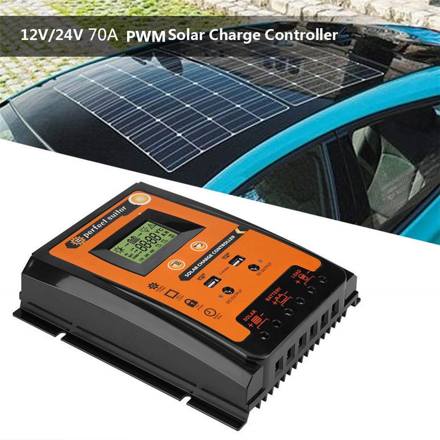 12/24V 70A PWM Solar Charge Controller Solar Panel Battery