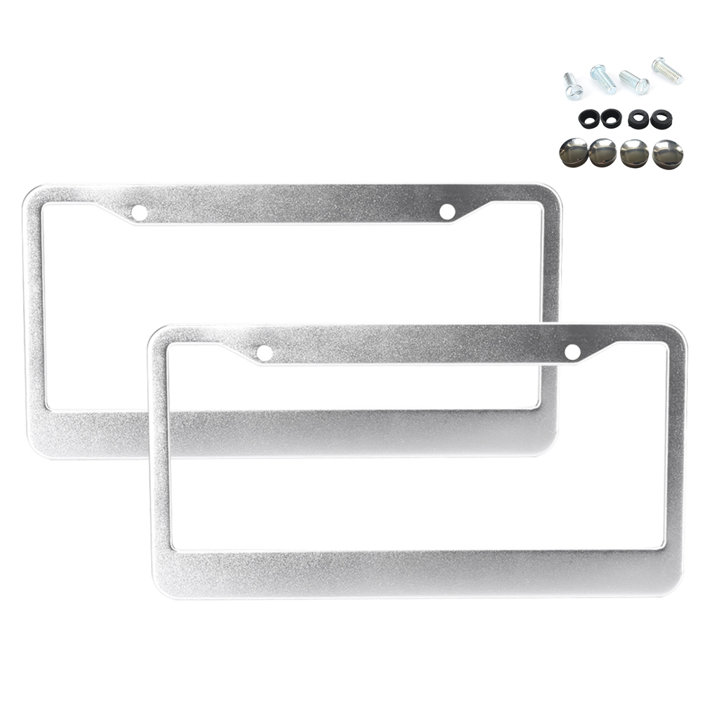 2pcs CA Chrome Silver STAINLESS STEEL METAL LICENSE PLATE FRAME SCREW CAP TAG