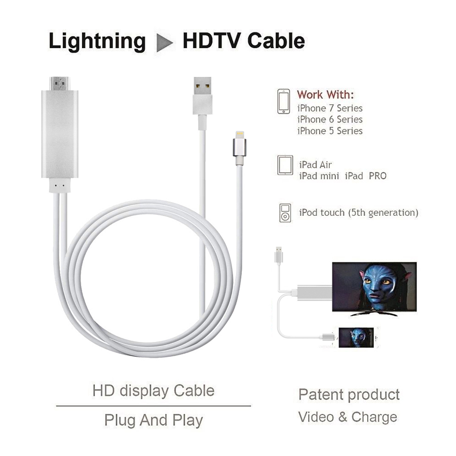 1 x Lightning to HDTV HDMI AV Cable for iPhone to HDTV//TV// Monitor//projector