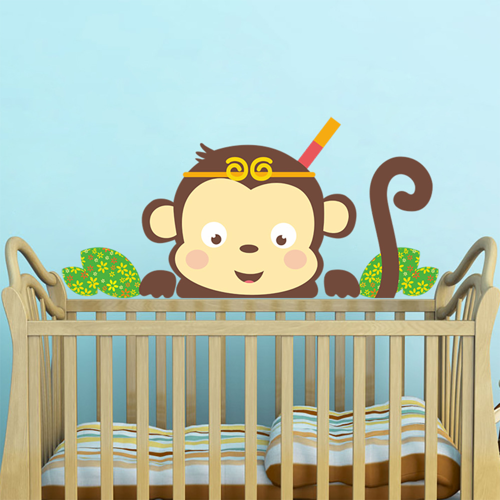 Curtoon Couple Monkey Removable Wall Sticker Kid Lovely Nursery Room ...