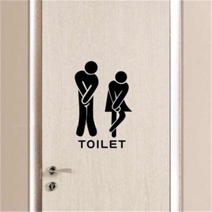 Wall Sticker Funny Toliet Bathroom Door Decals Washroom Vinyl Quotes Home Decor