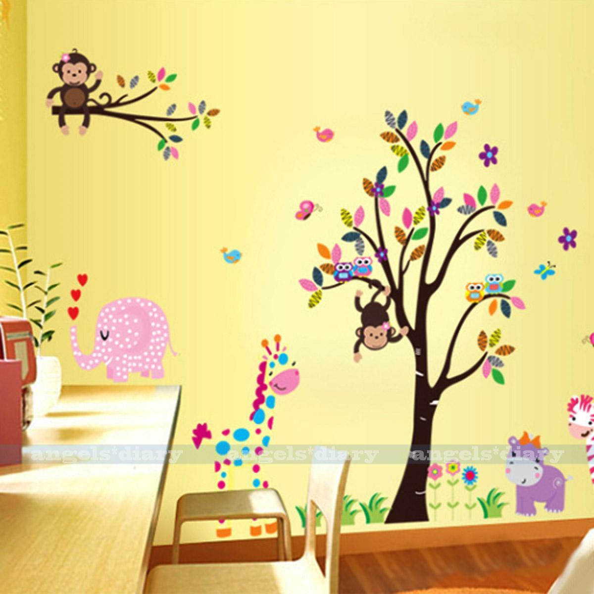 large animals cartoon monkey removable kids wall sticker