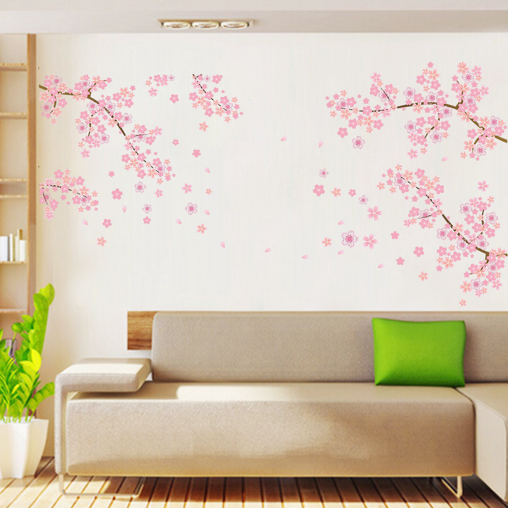 Pink Flowers Removable Vinyl Decal Wall Sticker Mural DIY