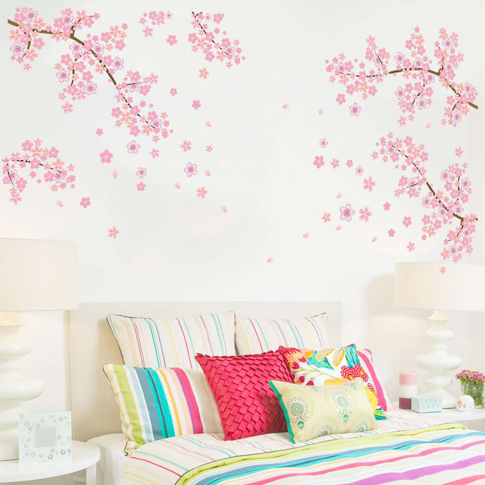 pink flowers removable vinyl decal wall sticker mural diy pink flower wall sticker decals mojosavings com