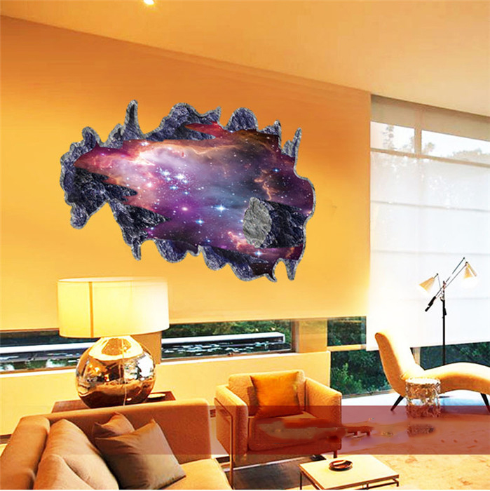Diy Galaxy Wall Decor : D galaxy wall sticker decals purple outer space removable