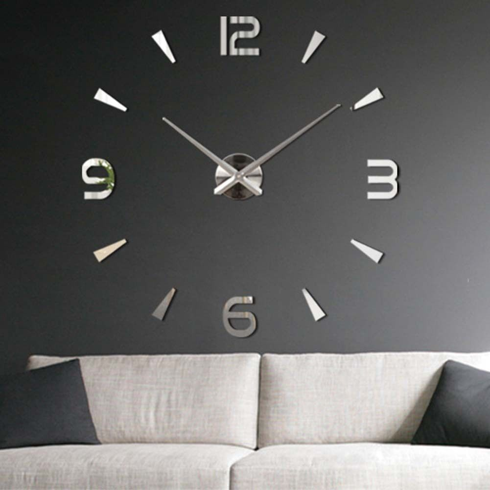 Modern diy large wall clock 3d mirror surface sticker home for Grosse horloge murale