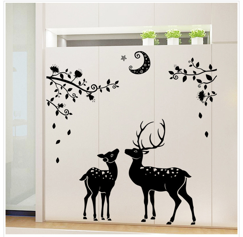 Deer and moon wall sticker home decor decal removable for Deer mural decal