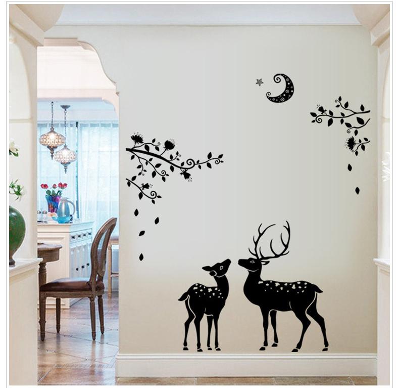 Deer moon wall sticker home decor decal mural diy art for Deer mural decal