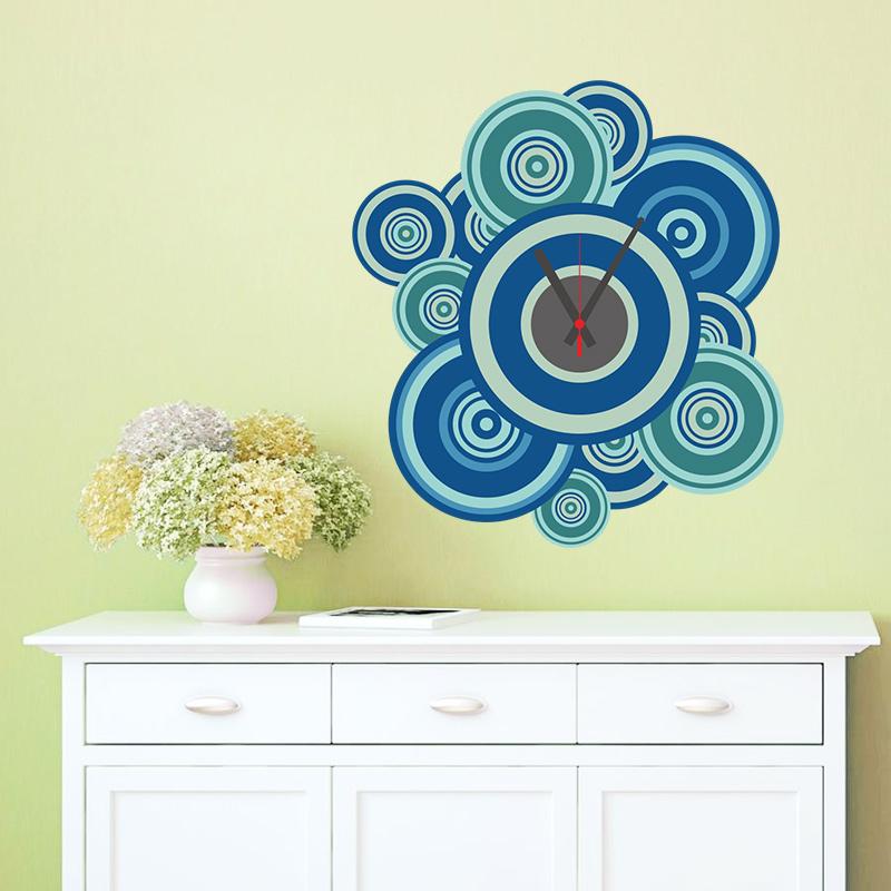 DIY Blue Circle Wall Clock Creative Watch Sticker Home Room Decor ...