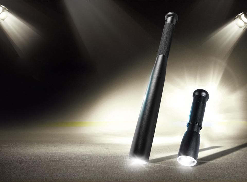 3 Modes Baseball Bat Led Flashlight Tactical Light Lamp Torch Aluminum Outdoor