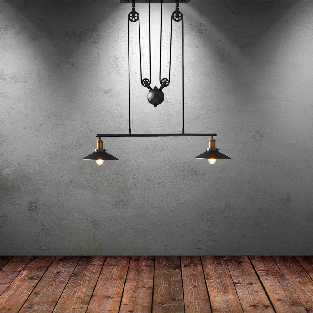 Details about hanging black pendant lamps lights adjustable pulley ceiling lighting fixtures