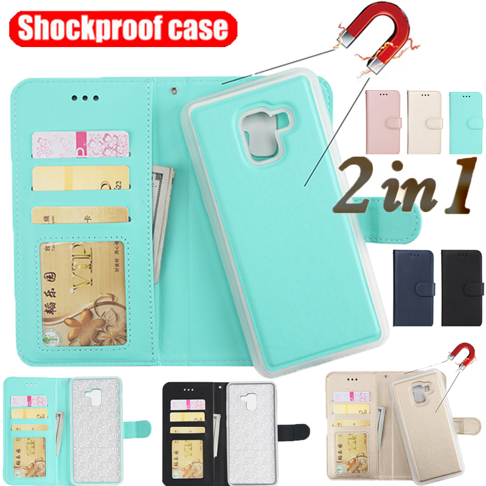 pretty nice 8d4a7 b70ae For Samsung A8 A7 A6 A5 2018 Removable Magnetic Leather Card Wallet ...