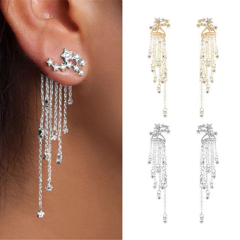 Rhinestone Crystal Ear Stud Jewelry Earrings Long Drop Dangle Tassel Women Gifts