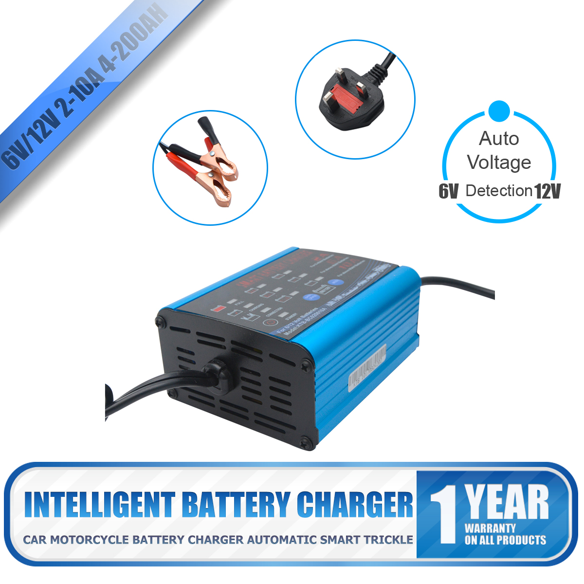 Battery Charger Maintainer For 6v 12v Lead Acid And Gel Batteries 2a Car With Short Circuit Protection 6a 10a New 7807963690728 Ebay