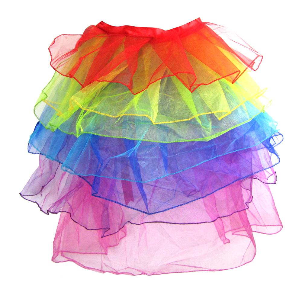 Women/'s TuTu Neon Rainbow Skirt Tail Gown Dress Tuxedo Ballet Dance Club