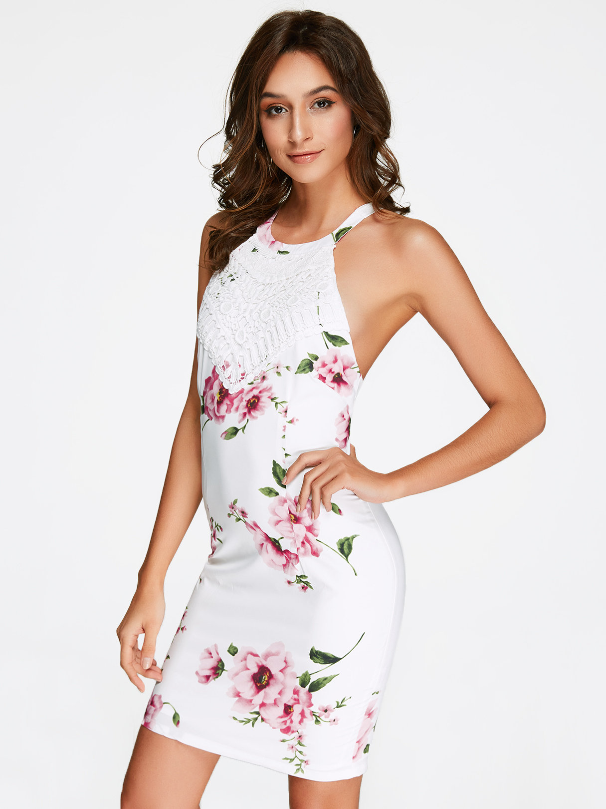 75a6087bc9d3 Details about Women's Summer Sexy Halter Neck Backless Random Floral Print  Bodycon Mini Dress