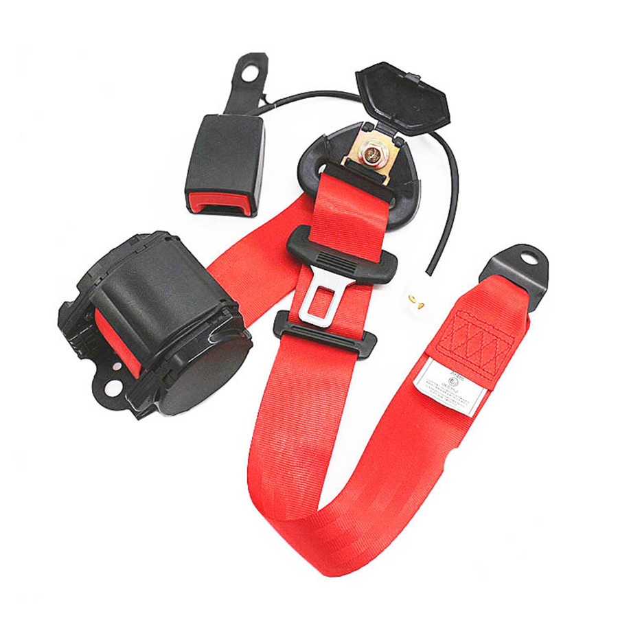 Universal Red 3Point Retractable Car Safety Seat Belt Buckle Kit w// Alarm Cable