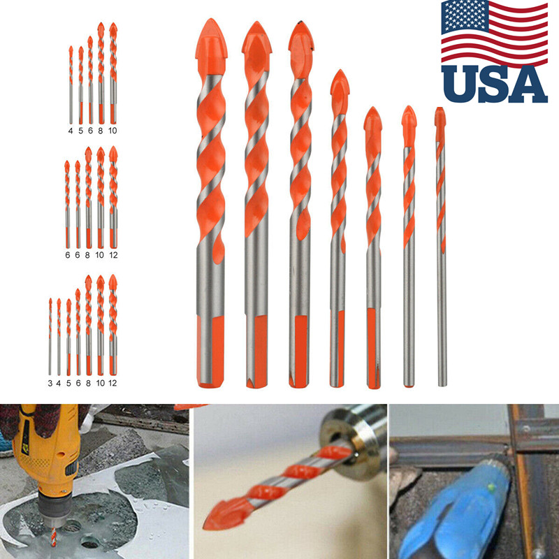 Triangle Drill Bits,6Pcs 4-12mm 0.2-0.5in Alloy Multi-Function Triangle Drill Bits for Glass Tile