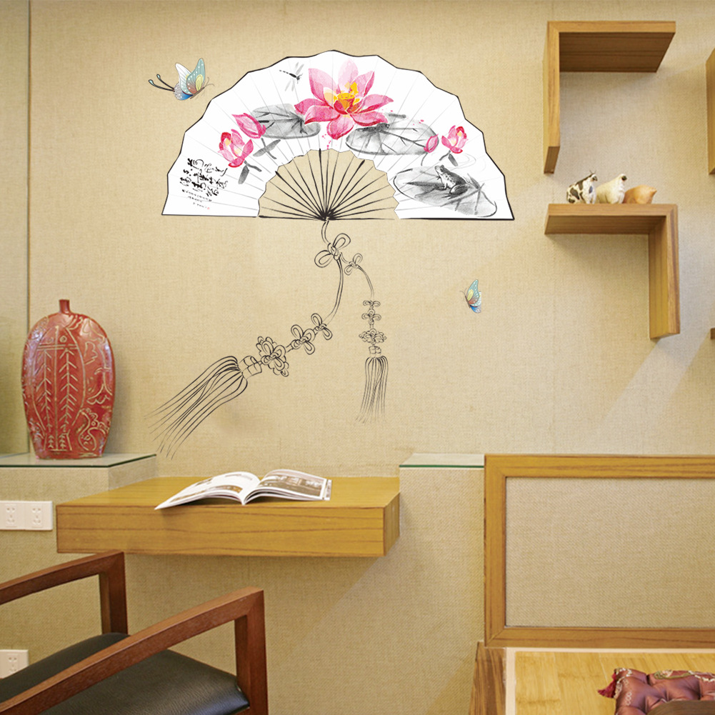 Peach Blossom Chinese Fan Removable Wall Sticker Decor Decal Chinese ...