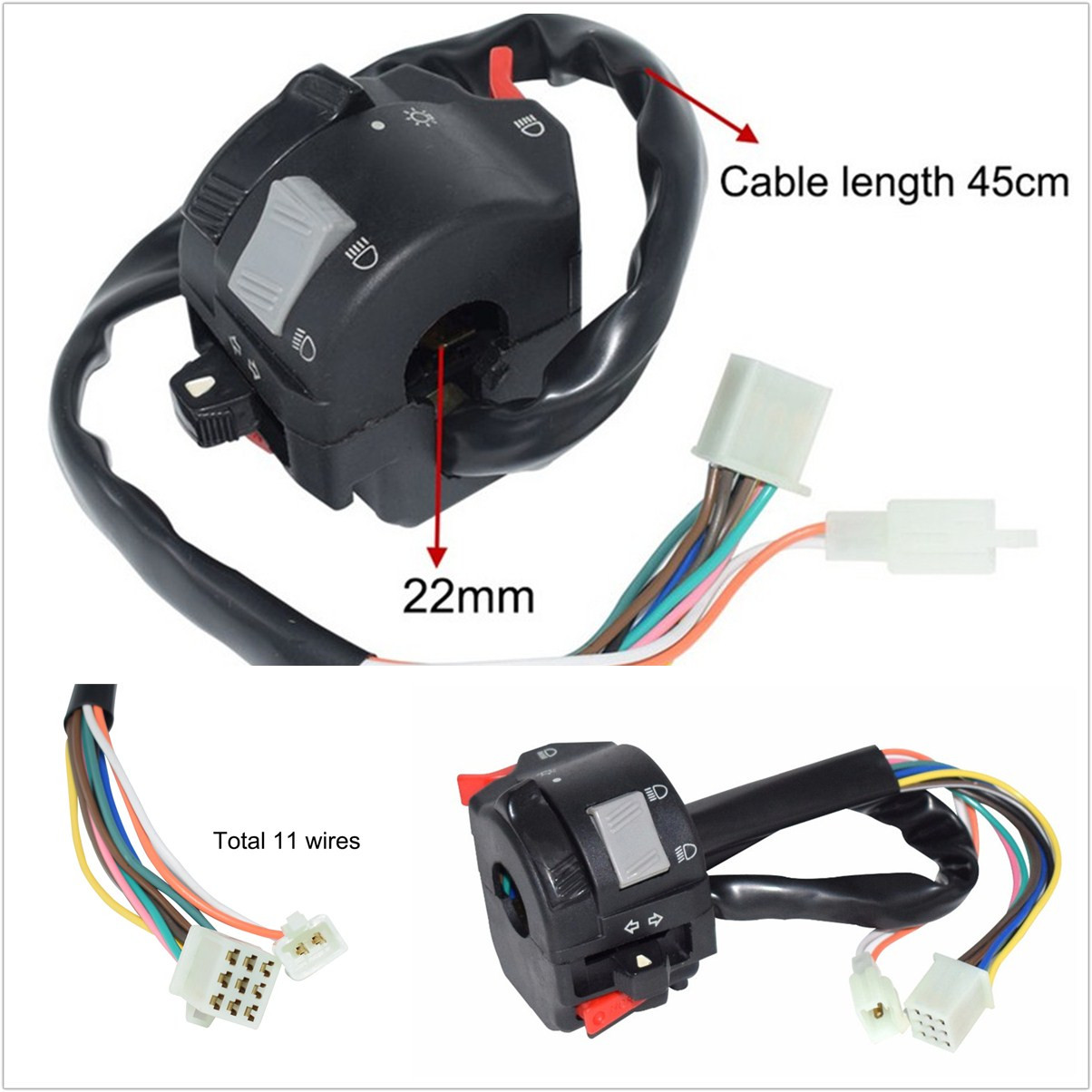 22mm Motorcycles ATV Handlebar Headlight Fog Lamp Switch With 11 Wiring  Harness | eBayeBay