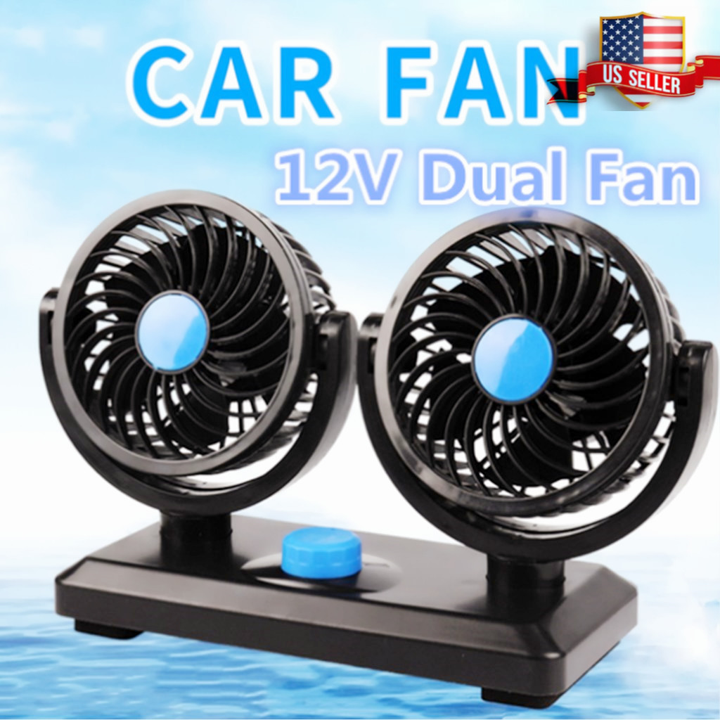Adjustable 12V Dual Fan 360° Rotating Mini Air Fan Cooler For Truck Car tent RV