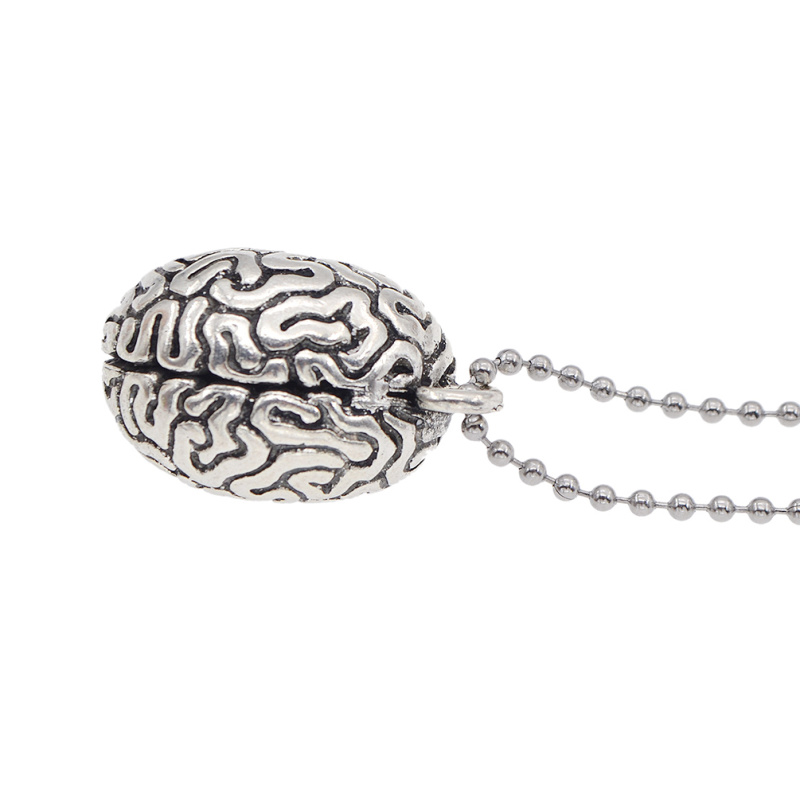 Vintage Metall Anatomische Gehirn Korn Anhänger Halskette Unisex Schmuck Mode