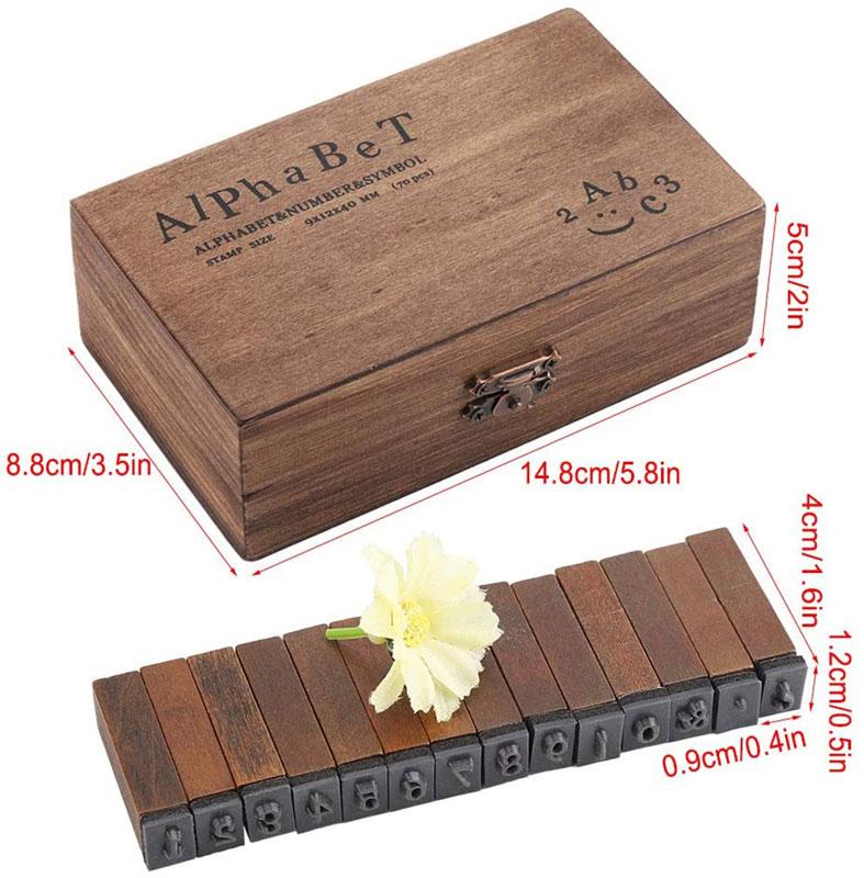 Zahlen-Holzbox 70 Sonderposten Buchstabenstempel Großbuchstaben Alphabet