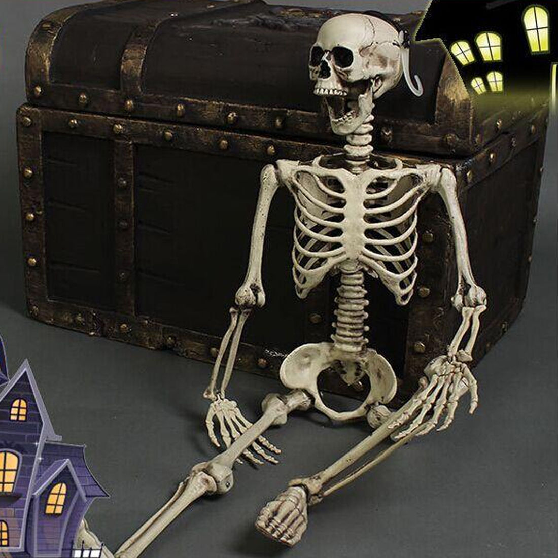 Realistic Skeleton Halloween Decor Scary Skull Man Bone