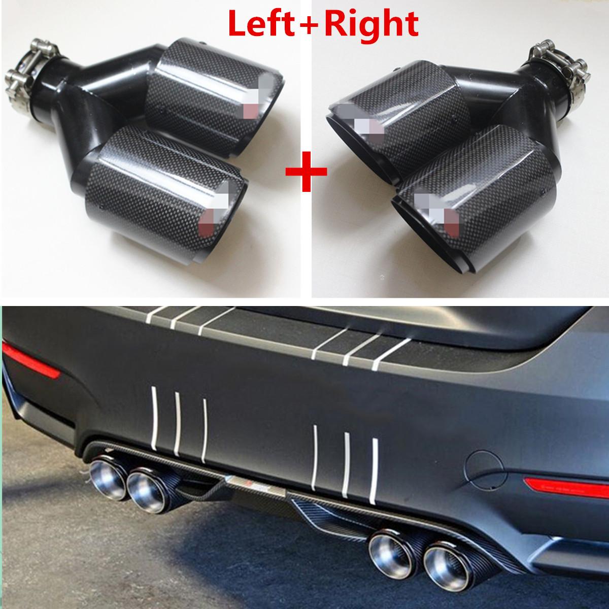 Real Carbon Fiber 63mm-89mm Car Dual Exhaust Pipe Tail Muffler Tip Plating Black