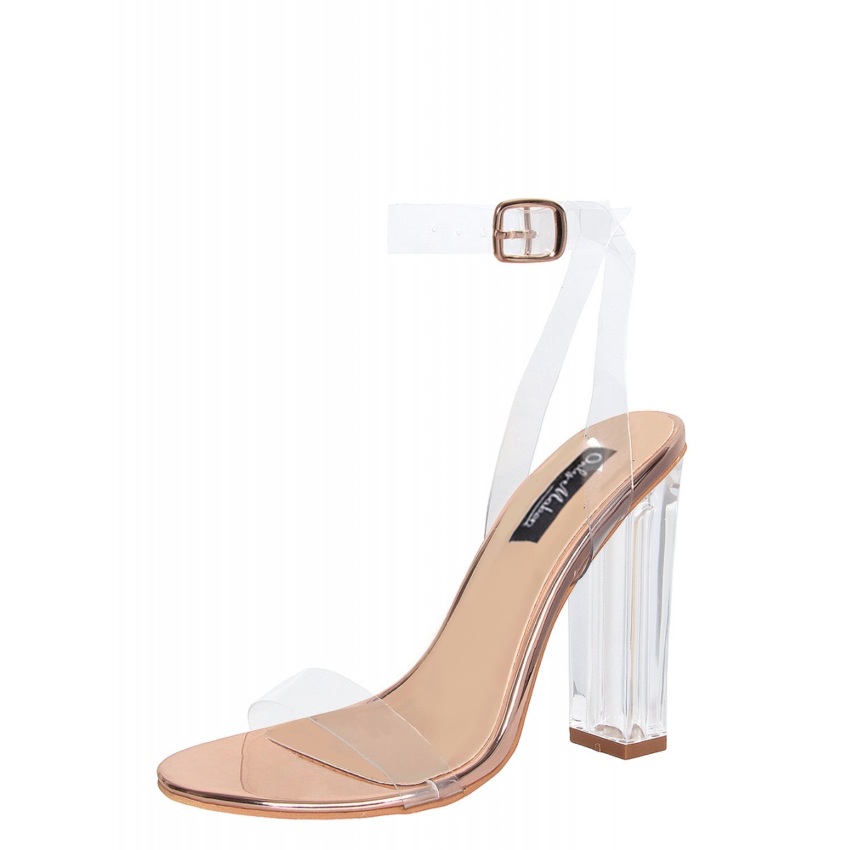 a957e3062727 Product Description. Onlymaker Womens Lucite Clear Buckle Ankle Strap Block  Perspex High Heel Sandals