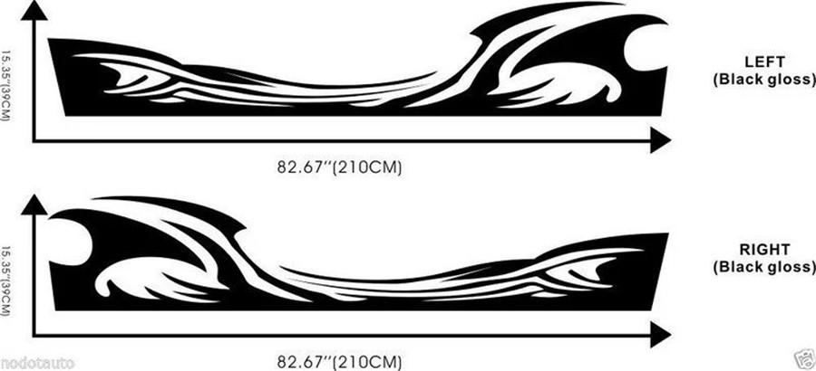 2pcs Black Car Side Body Styling Flame Fire Lower Wheel Door Decal Vinyl Sticker