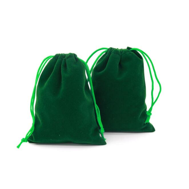 """10pcs Small 2/""""x 2 1//4/"""" Green Velvet Jewelry Wedding Party Gift Drawstring Pouch"""