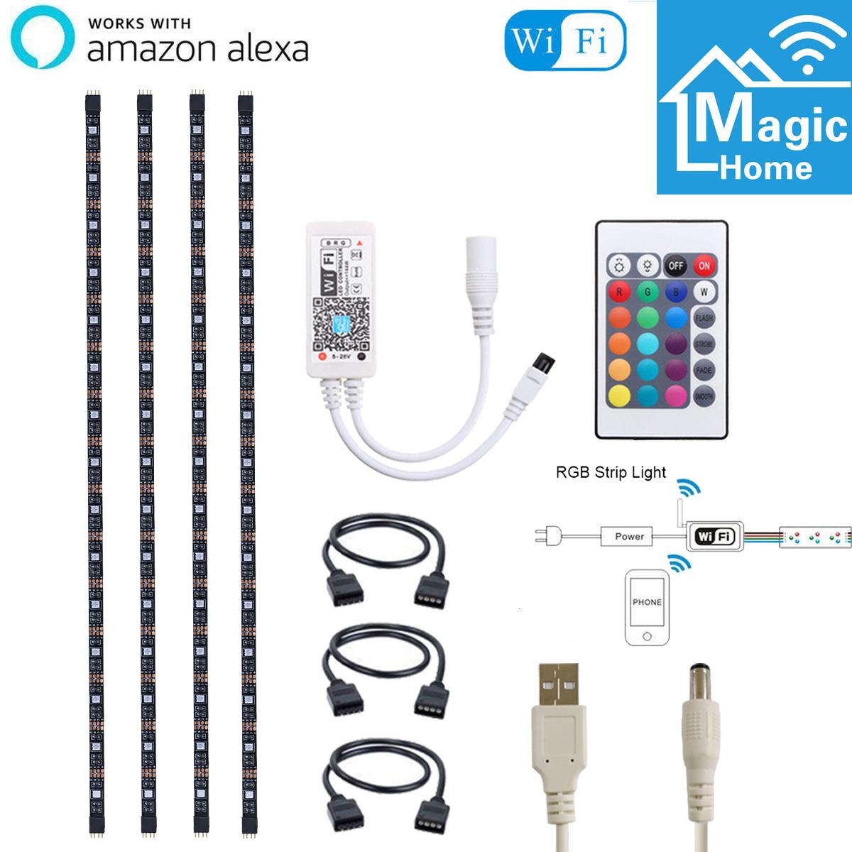 4pcs RGB USB LED Strip Light Smart WiFi TV Back Light for Alexa Google Home 5V