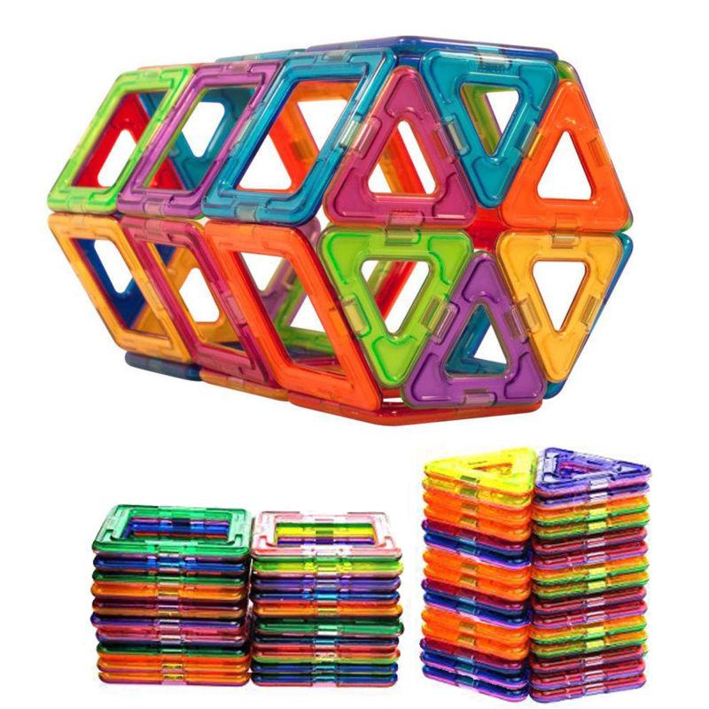 50st Magnet Spielzeug Magnetbaukästen Quadrate Dreiecke Kinder mit Handbuch Box