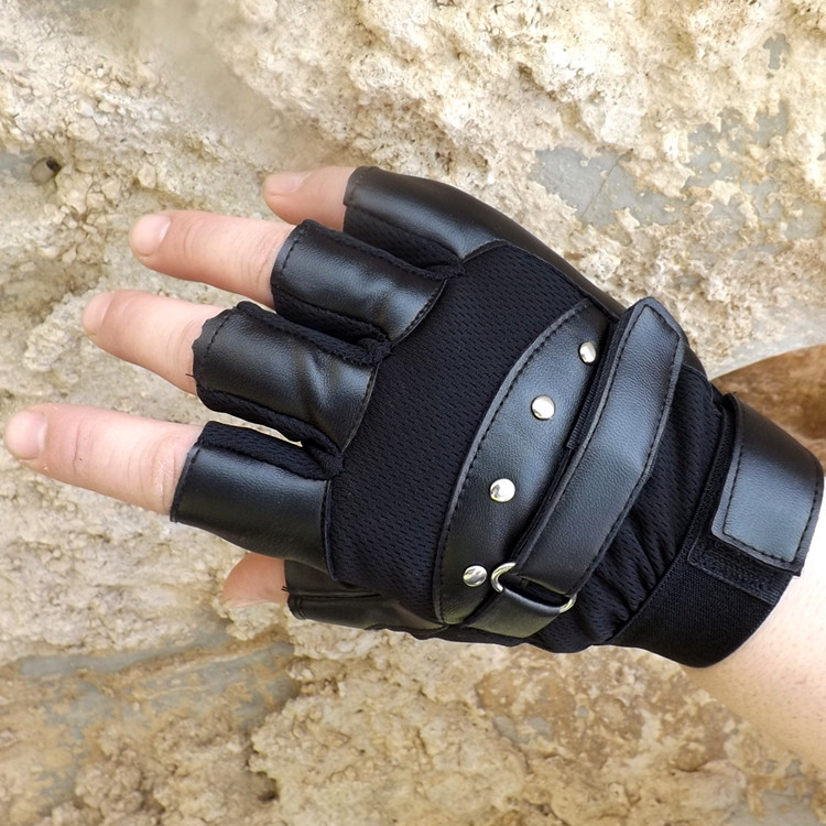 Men/'s Leather Gloves Black Half Finger Fingerless Stage Sports Cycling Driving