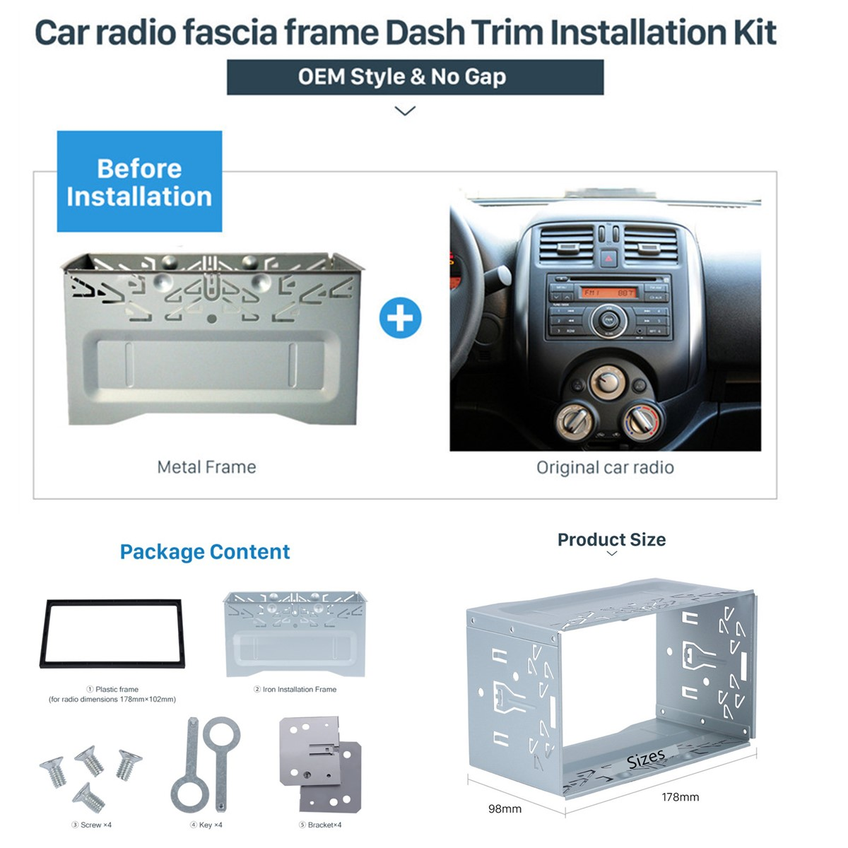 Double 2 Din Car Stereo Radio Dash Install Mounting Installation Kit Fascia Panel Wiring Fitting Product Description