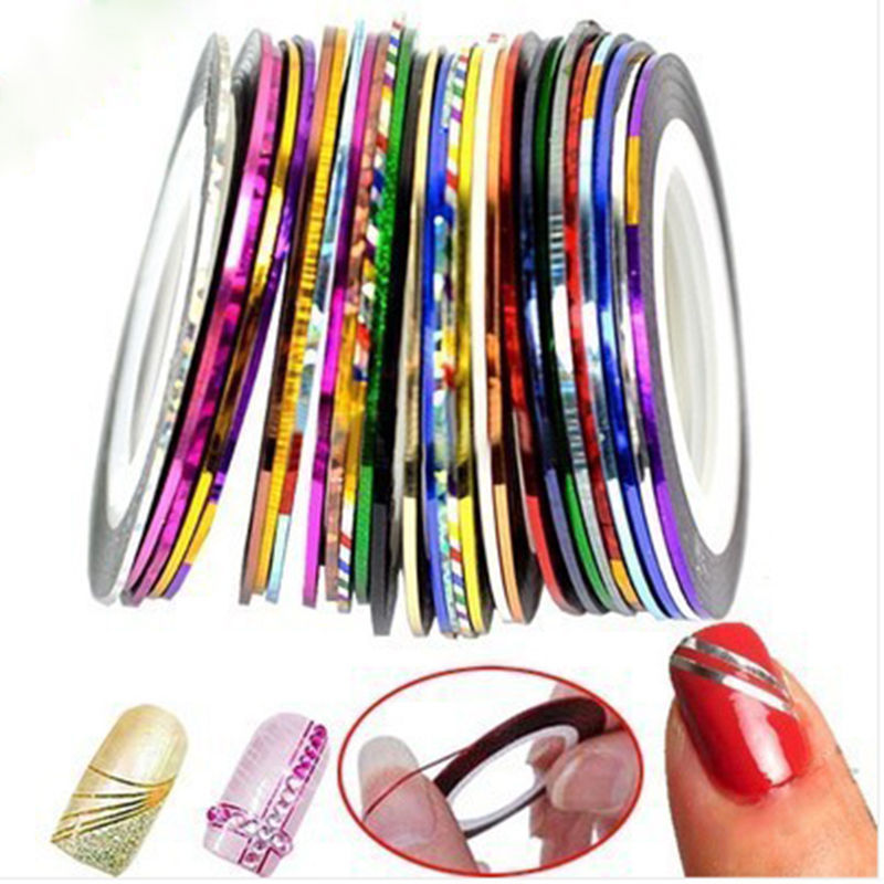 Details about 10 Rolls Mix Color Nail Art Stripe French Lines Foil Sticker  3D Decoration Decal