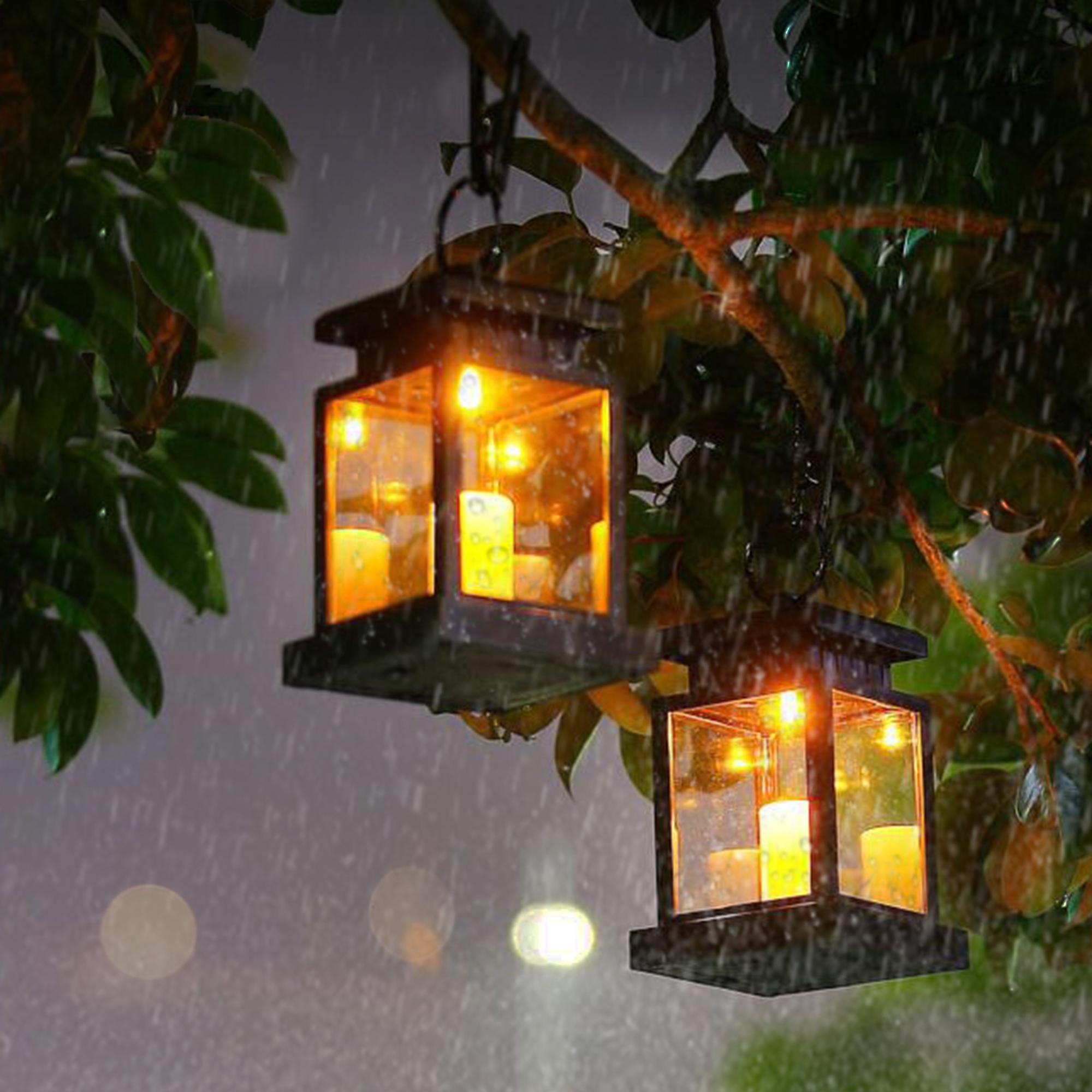 4Pcs LED Solarlampe Laterne Kerze Flackerlicht Solarleuchte Gartenleuchte Außen