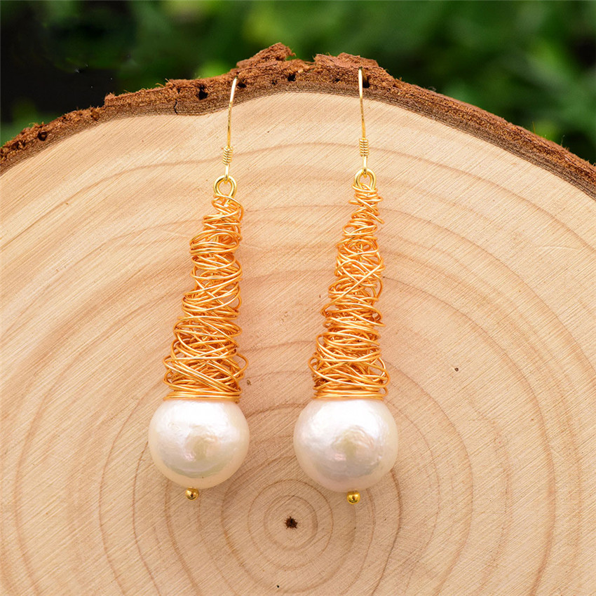 10-12mm white baroque pearl earrings  18K gold-plated hook gold  chic  jewelry