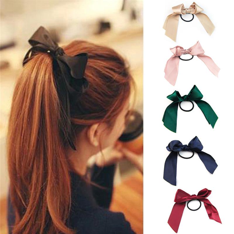 Ribbon Rope Cute Hair Ties Bow Elastic Hair Band Girl Hair ... 423fab899625