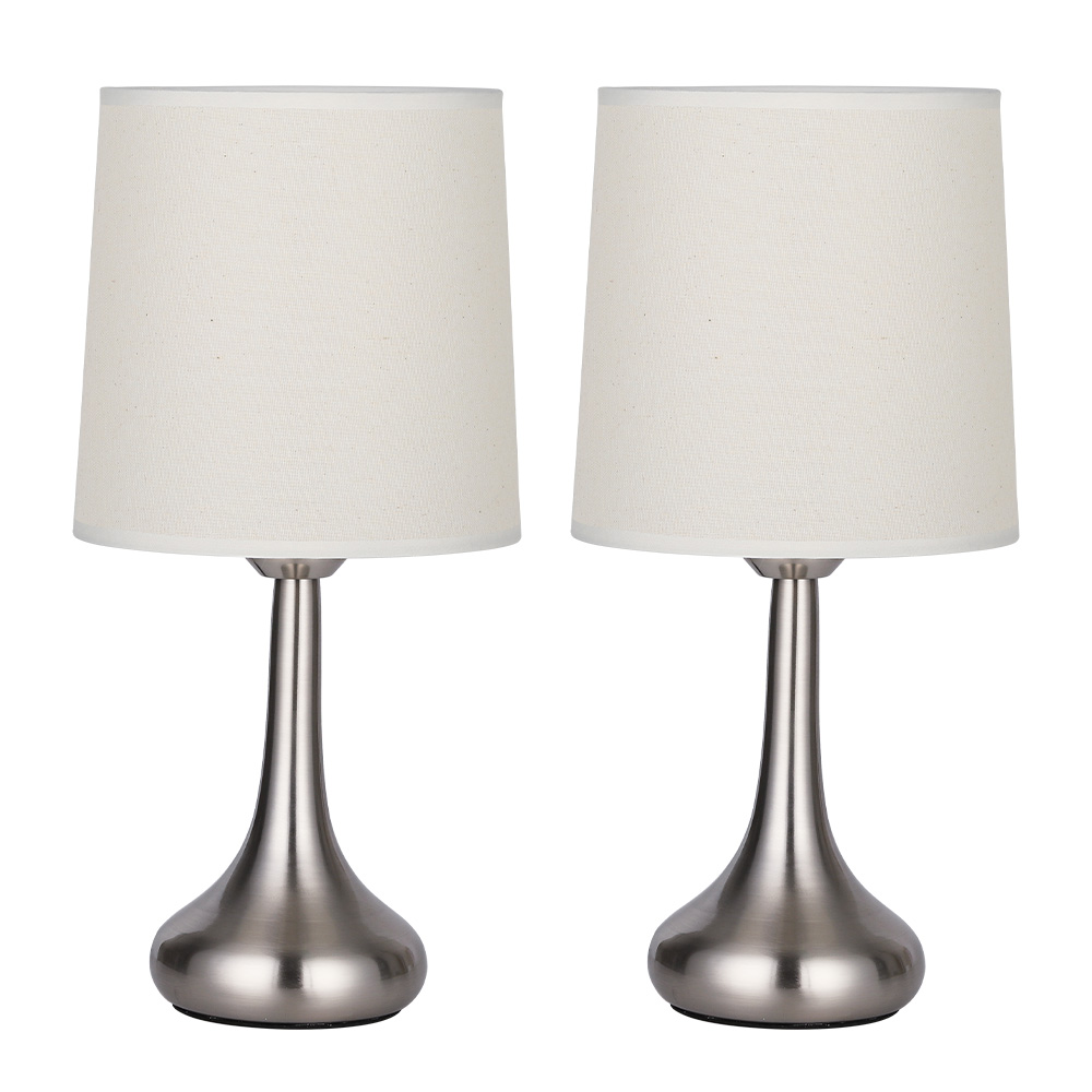 Details About Set Of 2 Bedside Table Lamps White Linen Fabric Lampshade Silver Metal Lamp Base