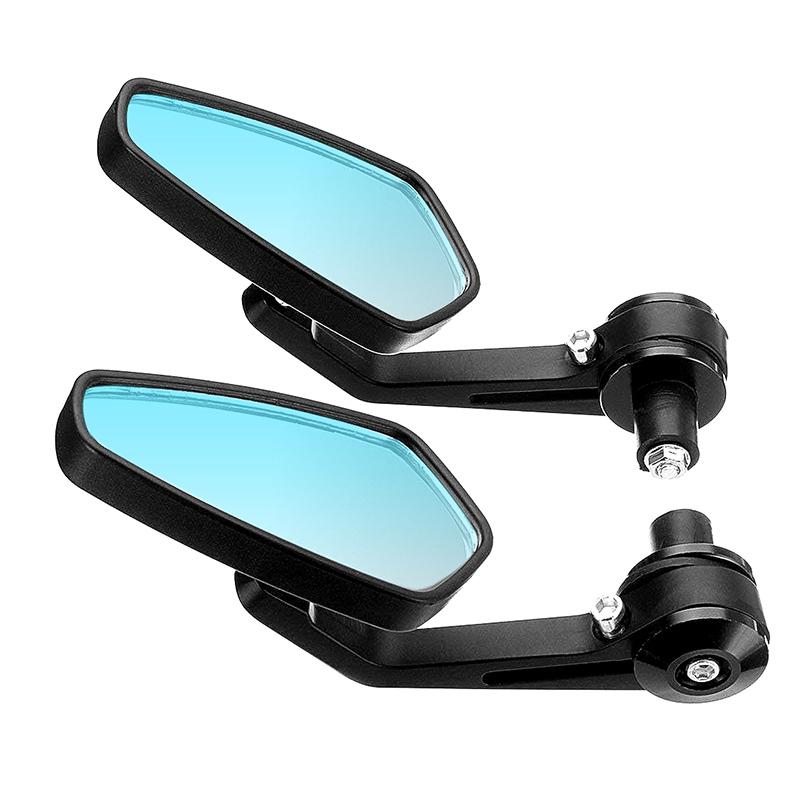 Honda Kawasaki Black Rectangle Motorcycle Bobber Mirrors Blue Mirror Reducing Glare Motorcycle Rear View Mirrors for Harley Cruise