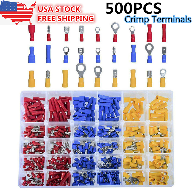 500PCS Assorted Crimp Terminals Set Insulated Electrical Wiring Connector Kit