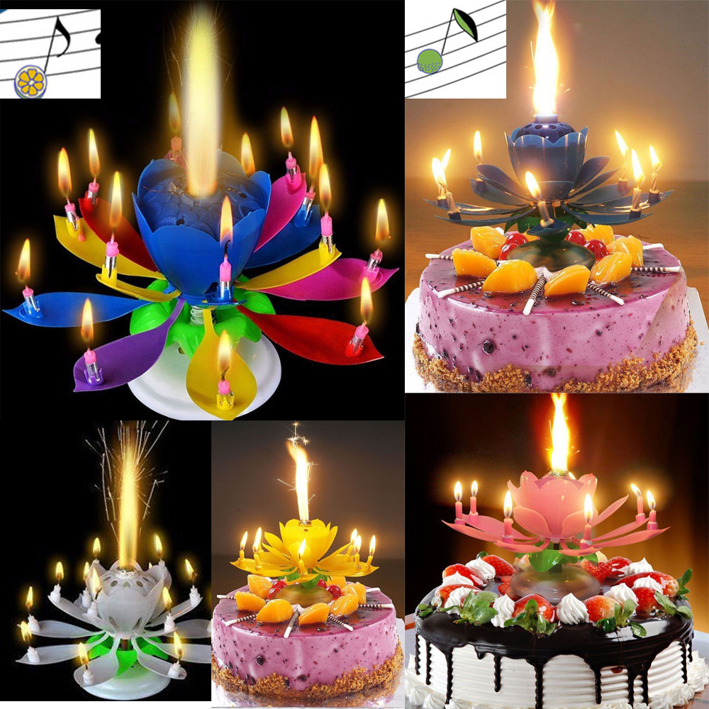 Lotus Flower Birthday Cake Candle Topper Decoration Blossom Musical