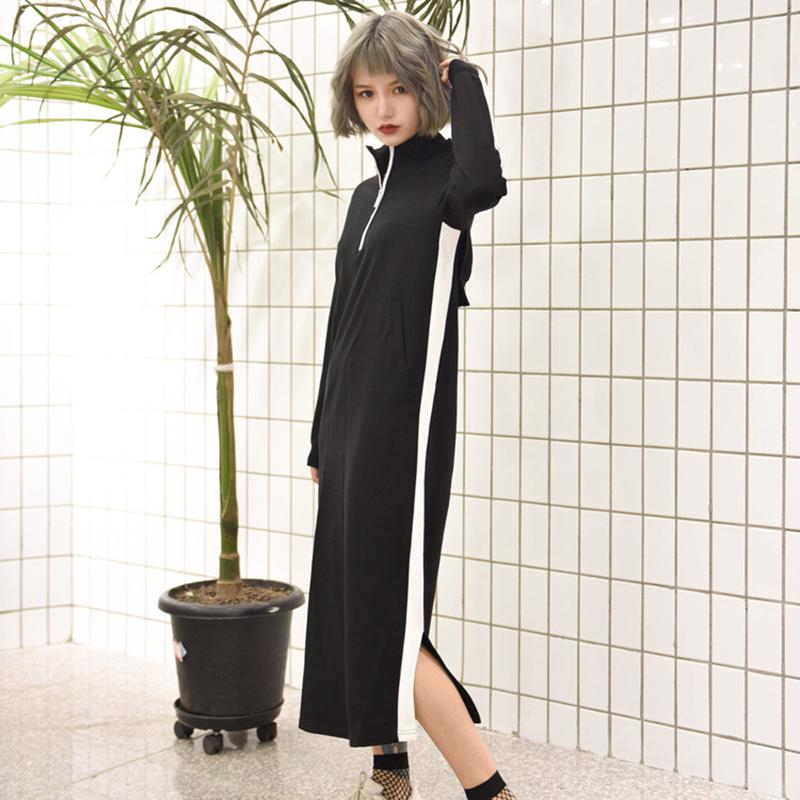 harajuku damen split kleid rei verschluss locker langarm. Black Bedroom Furniture Sets. Home Design Ideas