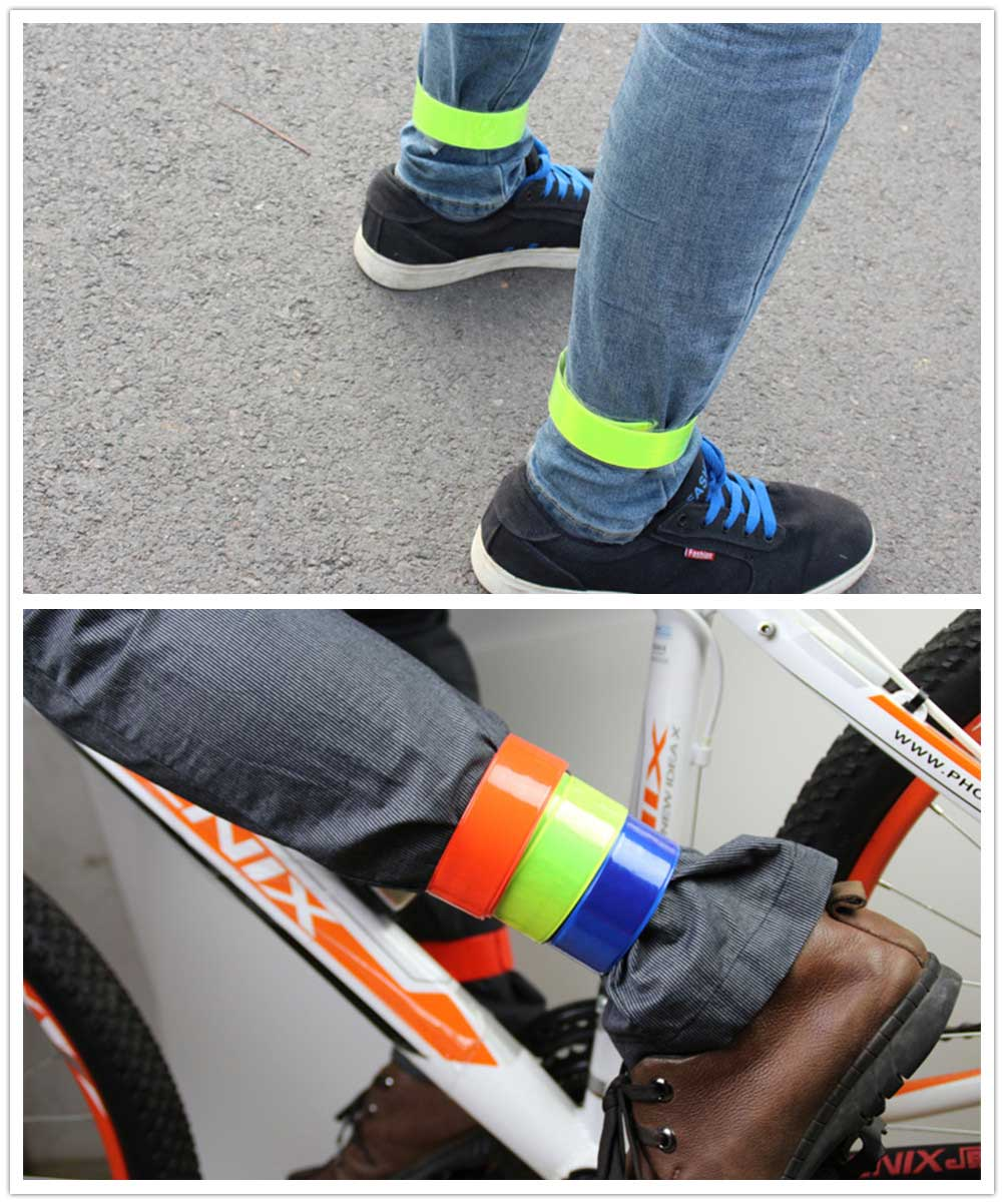 Bike Bicycle Cycling Band Arm Leg Pant Reflective Strap Belt Safety Reflector Reflective Material