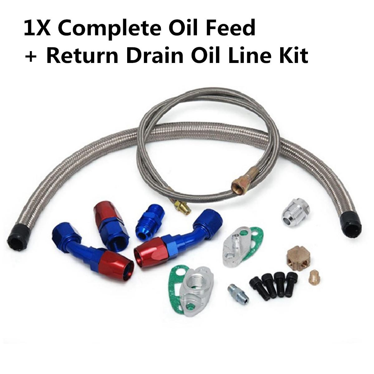 T3//T4 Turbo Oil Feed Line+Return Line+Drain Line Complete Kit T3 T4 T70 T66 TO4E